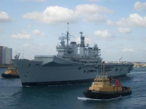 HMS Illustrious leaving Portsmouth Harbour