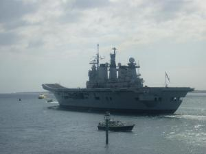 HMS Illustrious steaming out of Portsmouth