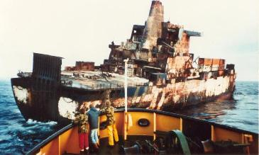 The Atlantic Conveyor after being hit by Exocet