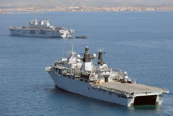 HMS Bulwark (foreground) and HMS Ocean