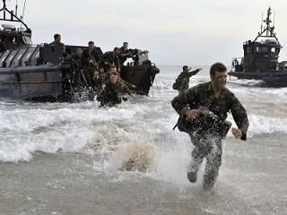 Royal Marines conducting an amphibious exercise