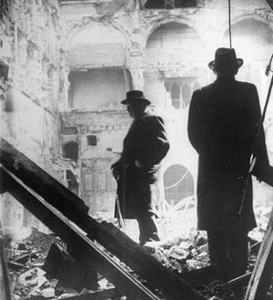 Winston Churchill inspecting a devastated Guildhall